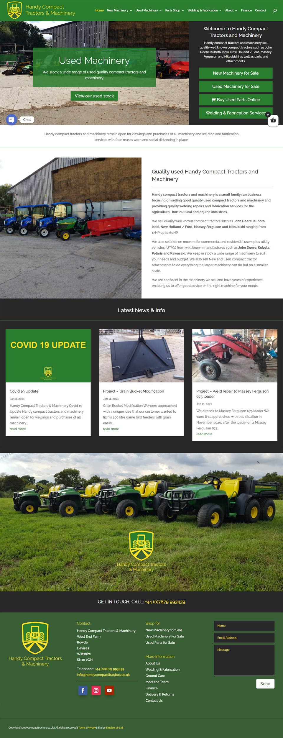 Handy Compact Tractors new website designed and developed by Studio 56