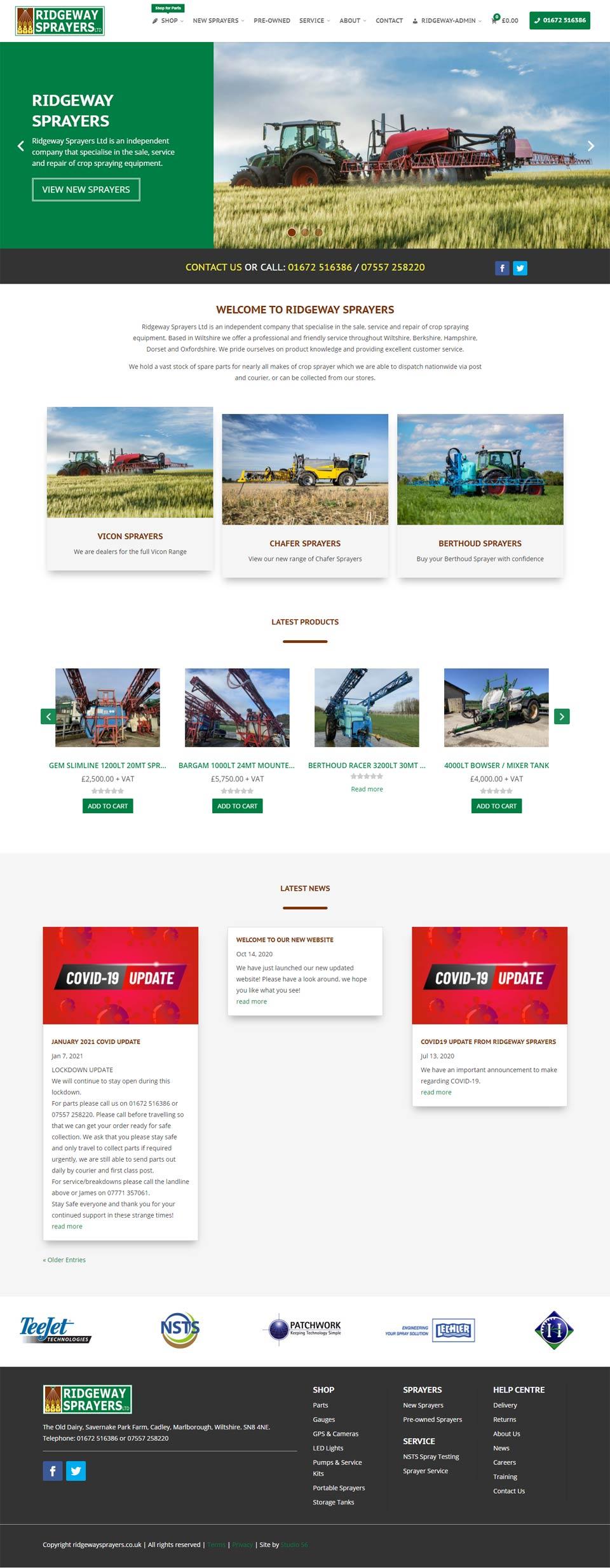 Ridgeway Sprayers new website designed and developed by Studio 56