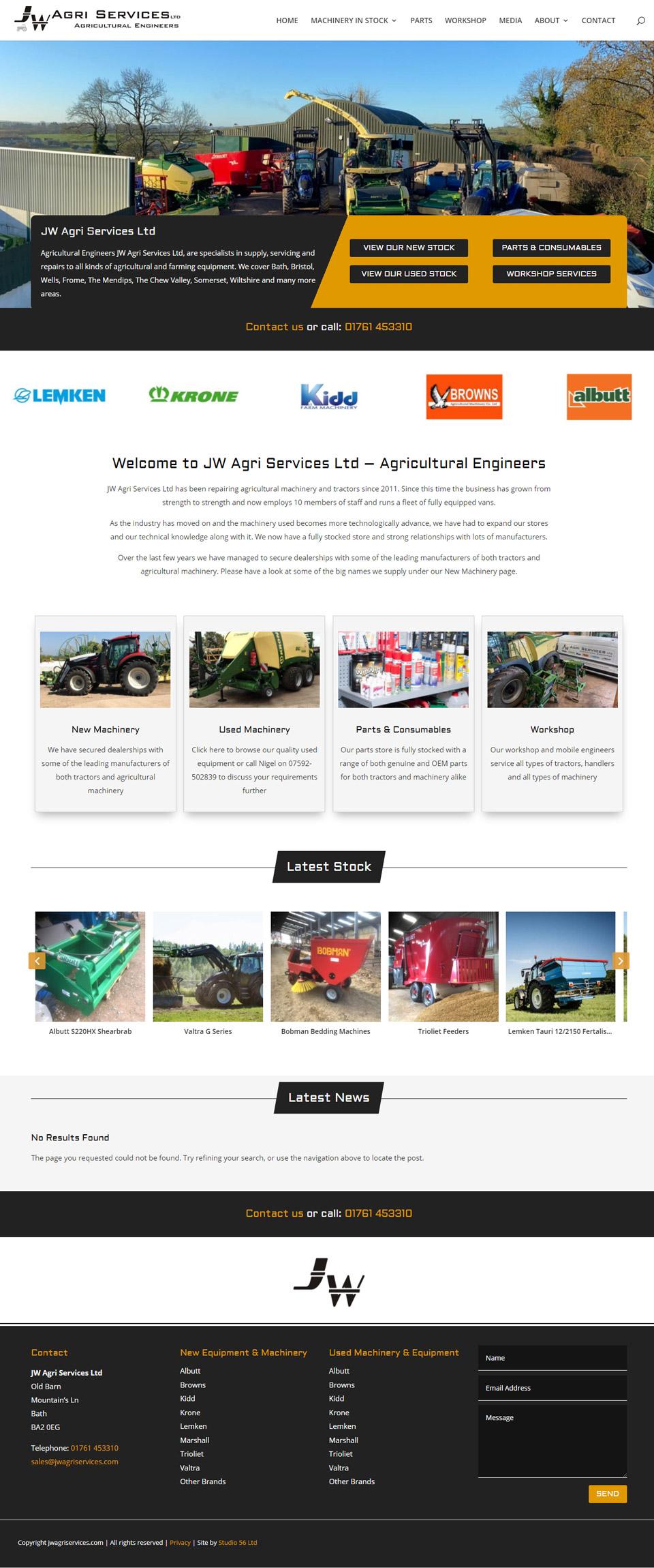 JW Agri Services website design by Studio 56 in Birmingham UK